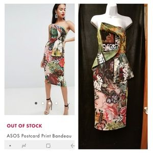 Asos Postcard Scuba Bandeau Strapless Maxi Dress